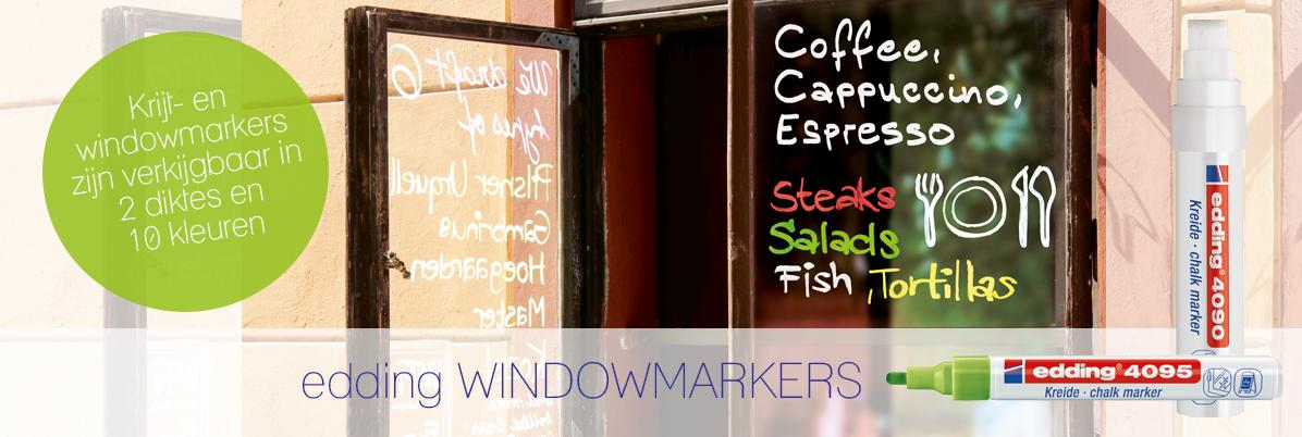 Windowmarkers in 2 diktes en 10 kleuren verkrijgbaar