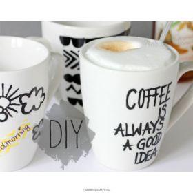 Koffiekopjes beschilderen met edding porseleinstiften